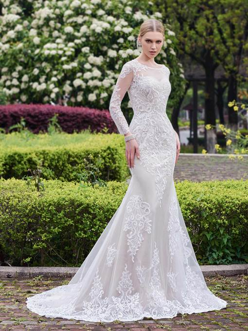 Ericdress Sequins Appliques Mermaid Long Sleeves Wedding Dress