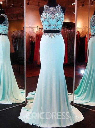 Ericdress Two Pieces Scoop Mermaid Beading Court Train Prom Dress