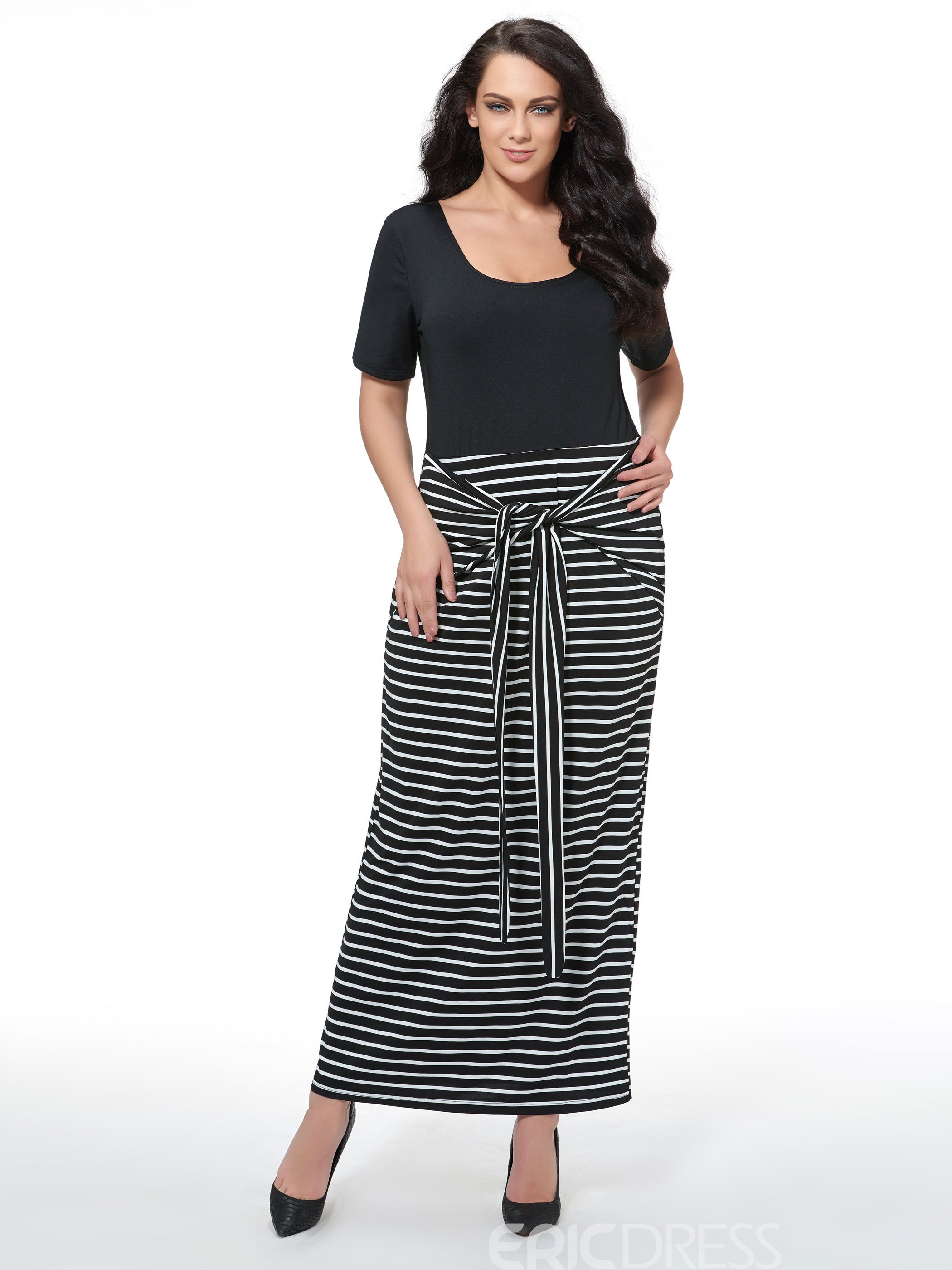 Ericdress Plus Size Short Sleeves Maxi Dress