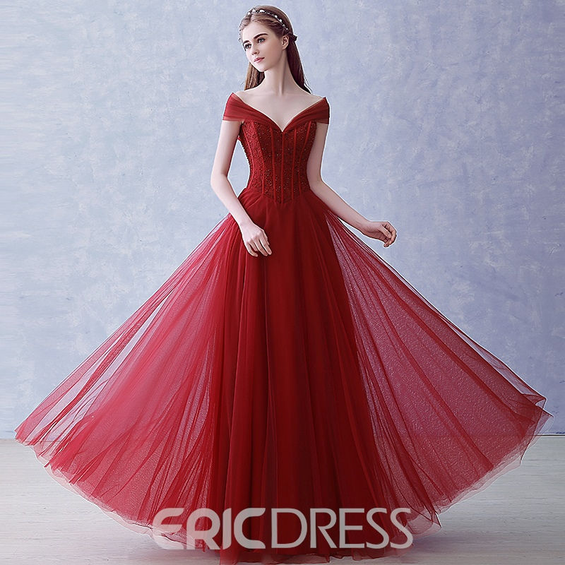 Ericdress A-Line Off-the-Shoulder Beading Long Evening Dress