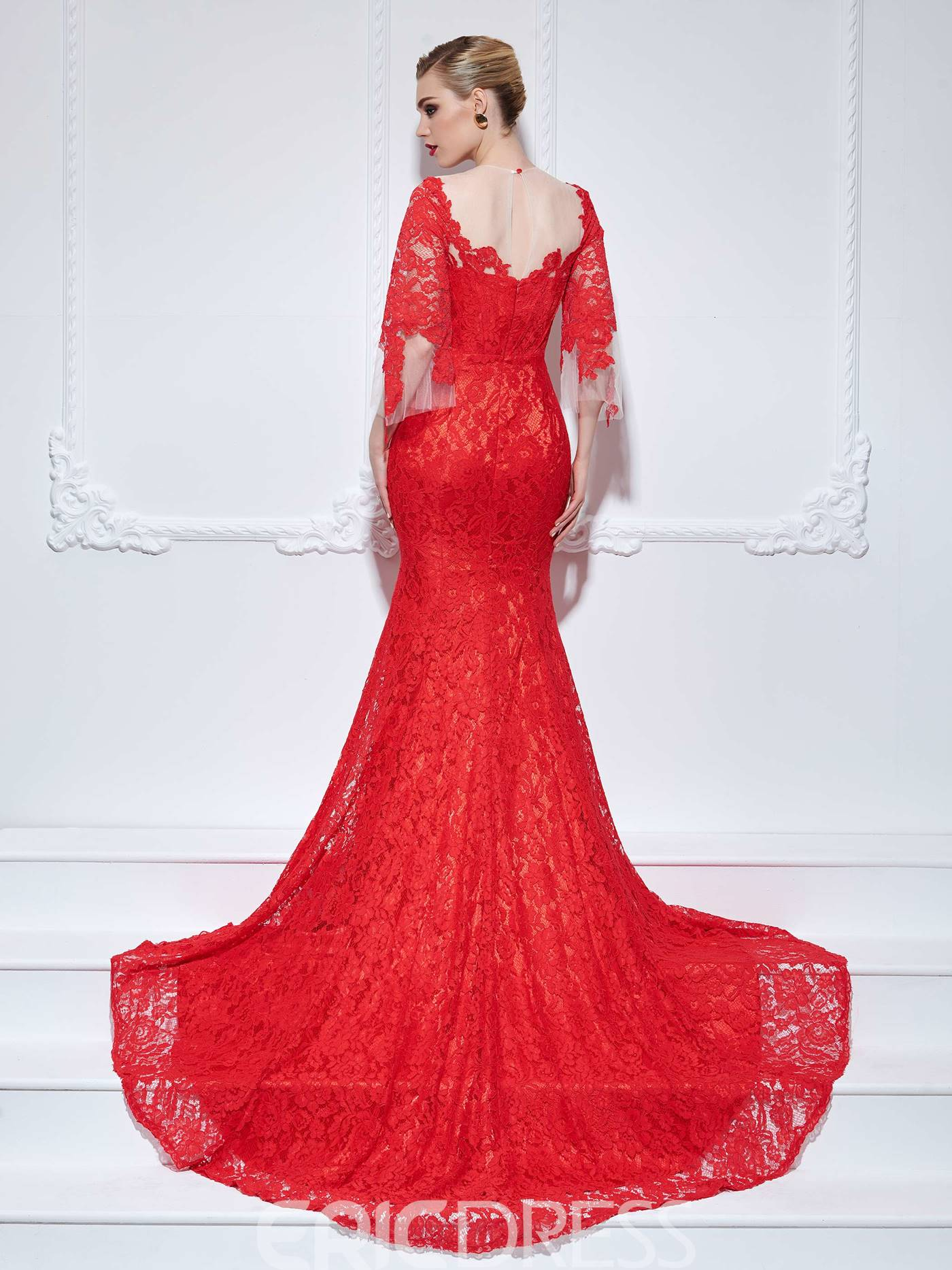 Ericdress Mermaid Scoop 3/4 Length Sleeves Lace Court Train Evening Dress