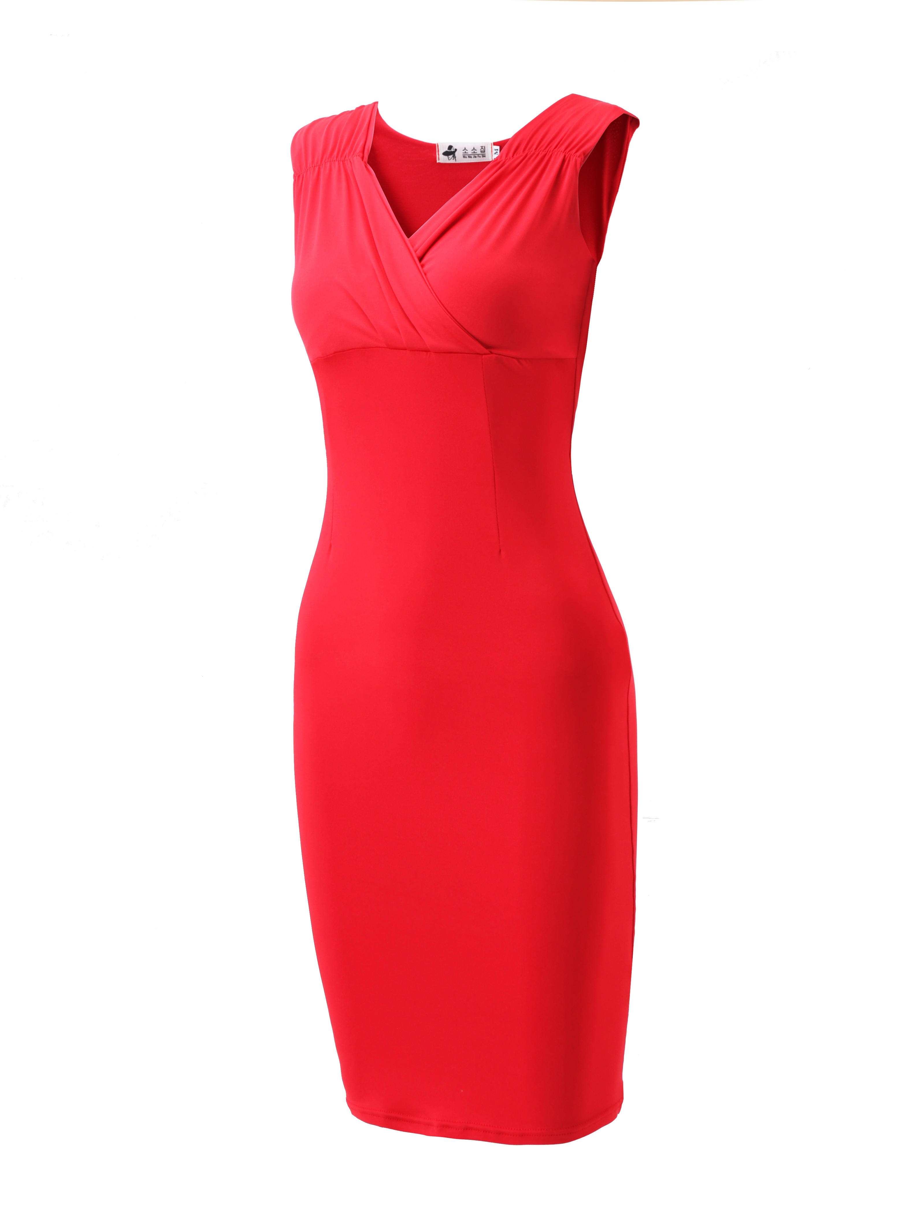 Ericdress V-Neck Knee-Length Sleeveless Regular Pencil Dress