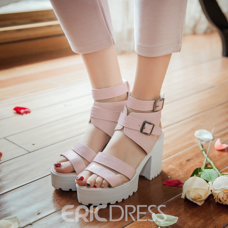 Ericdress Buckle Platform Open Toe Chunky Sandals