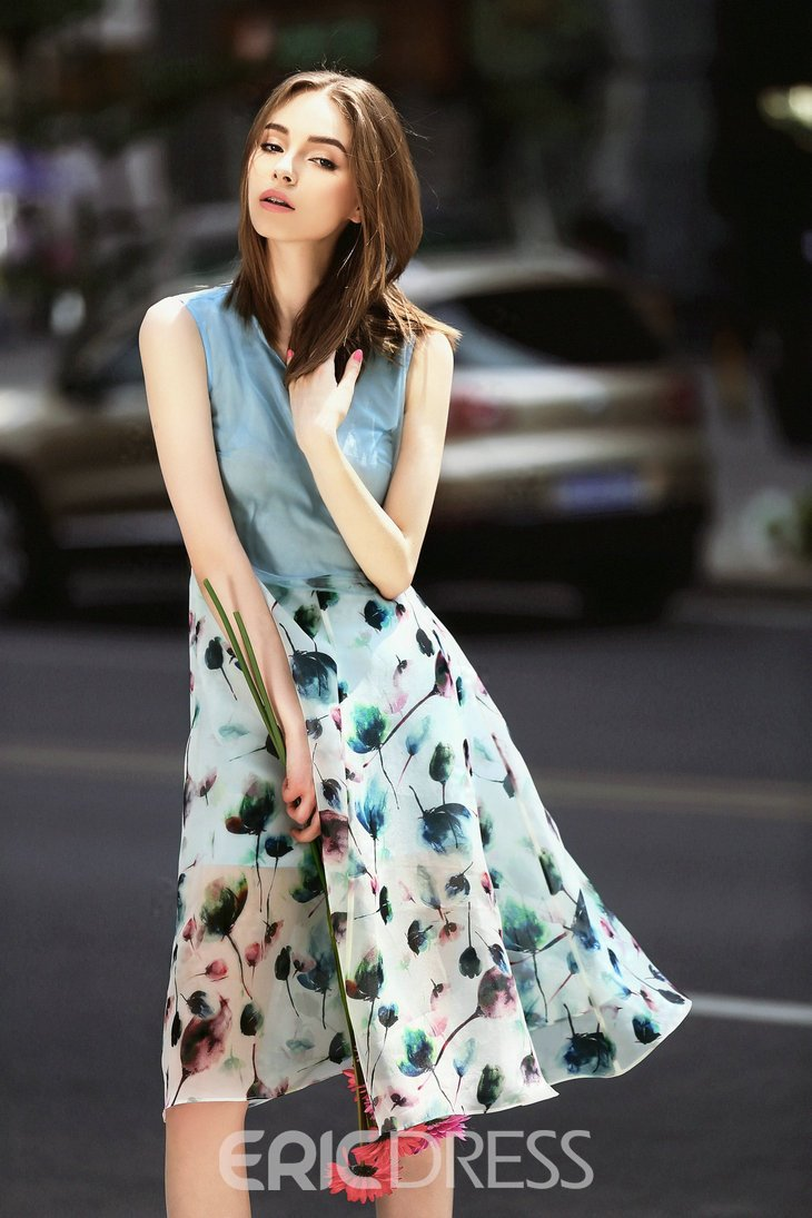 Ericdress Travel Look Organza Patchwork Print Flowy Casual Dress