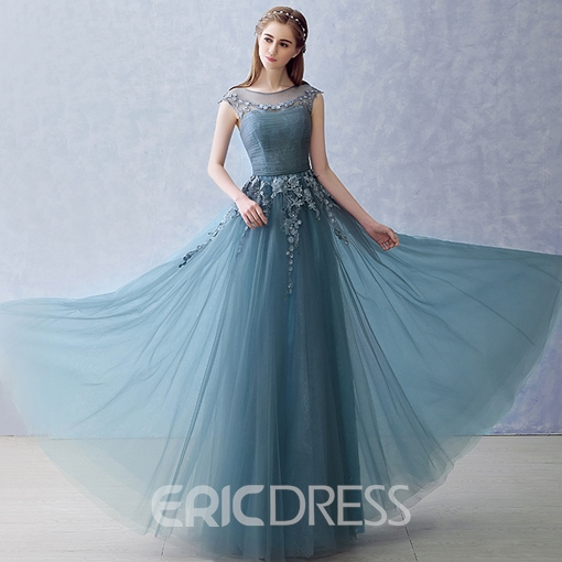 Ericdress A-Line Cap Sleeves Appliques Pleats Long Evening Dress In Floor-Length