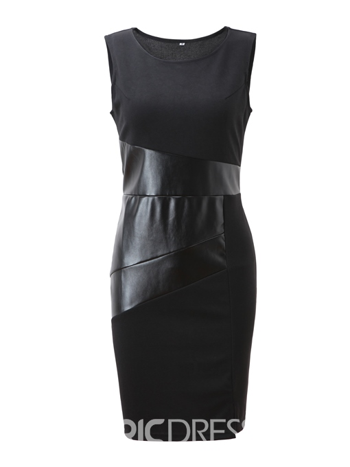 Ericdress Black OL PU Sheath Dress