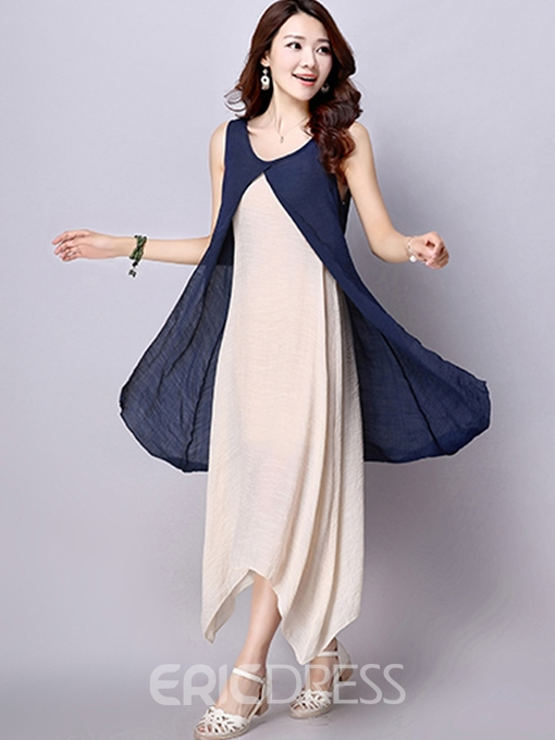 Ericdress Ethic Double Layer Maxi Dress