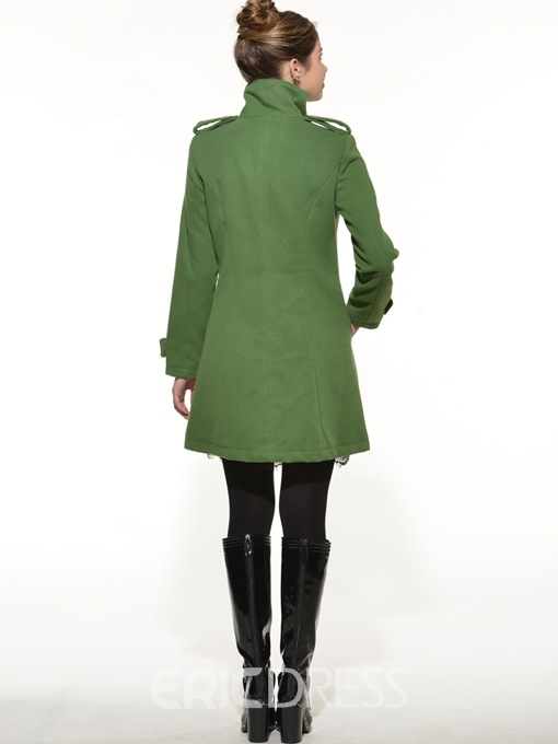 Ericdress Single-Breasted Mid-Length Coat