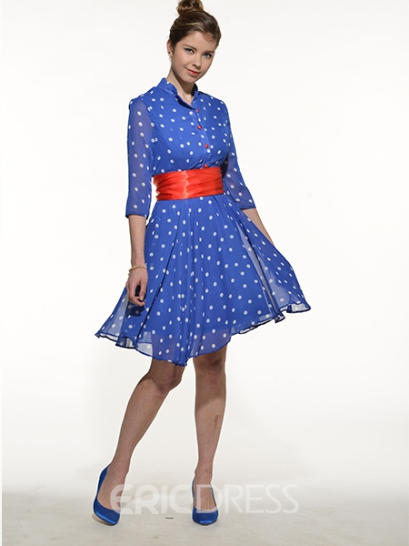 Ericdress Polka Dots Single-Breasted Lace-Up Casual Dress