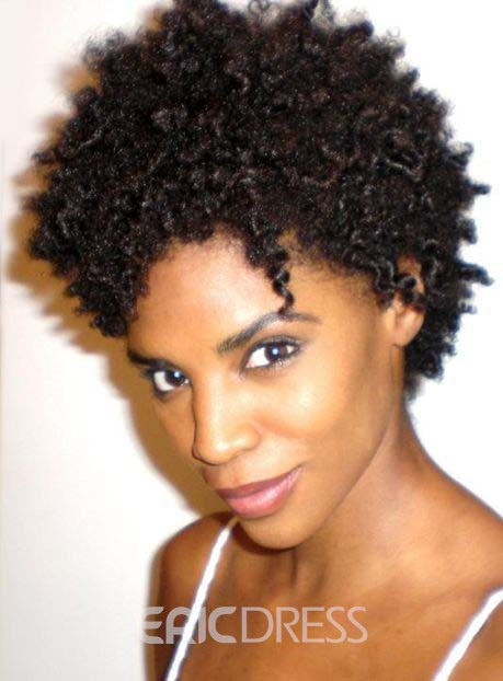 Ericdress African American Short Kinky Curly Full Lace Human Hair Wig 6 Inches