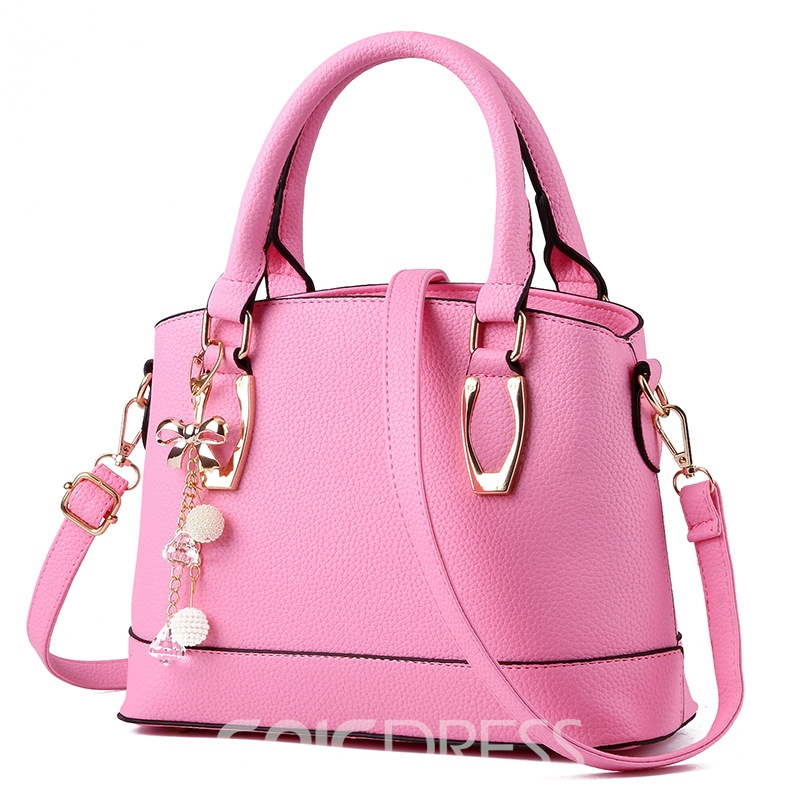 Ericdress Pure Color Pearl Decorated Handbag