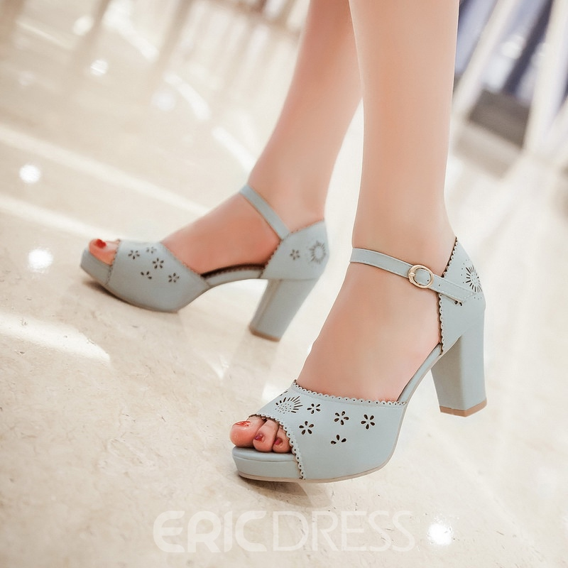 Ericdress Candy Color Carved Chunky Sandals