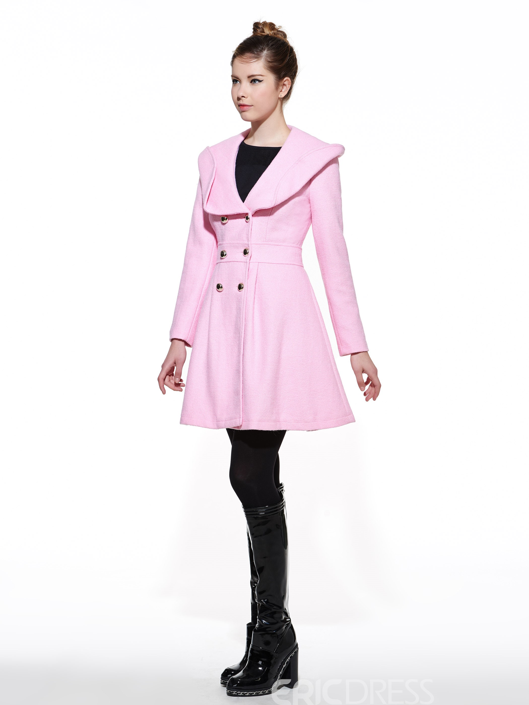 Ericdress Princess Style Double-Breasted Pleated Coat