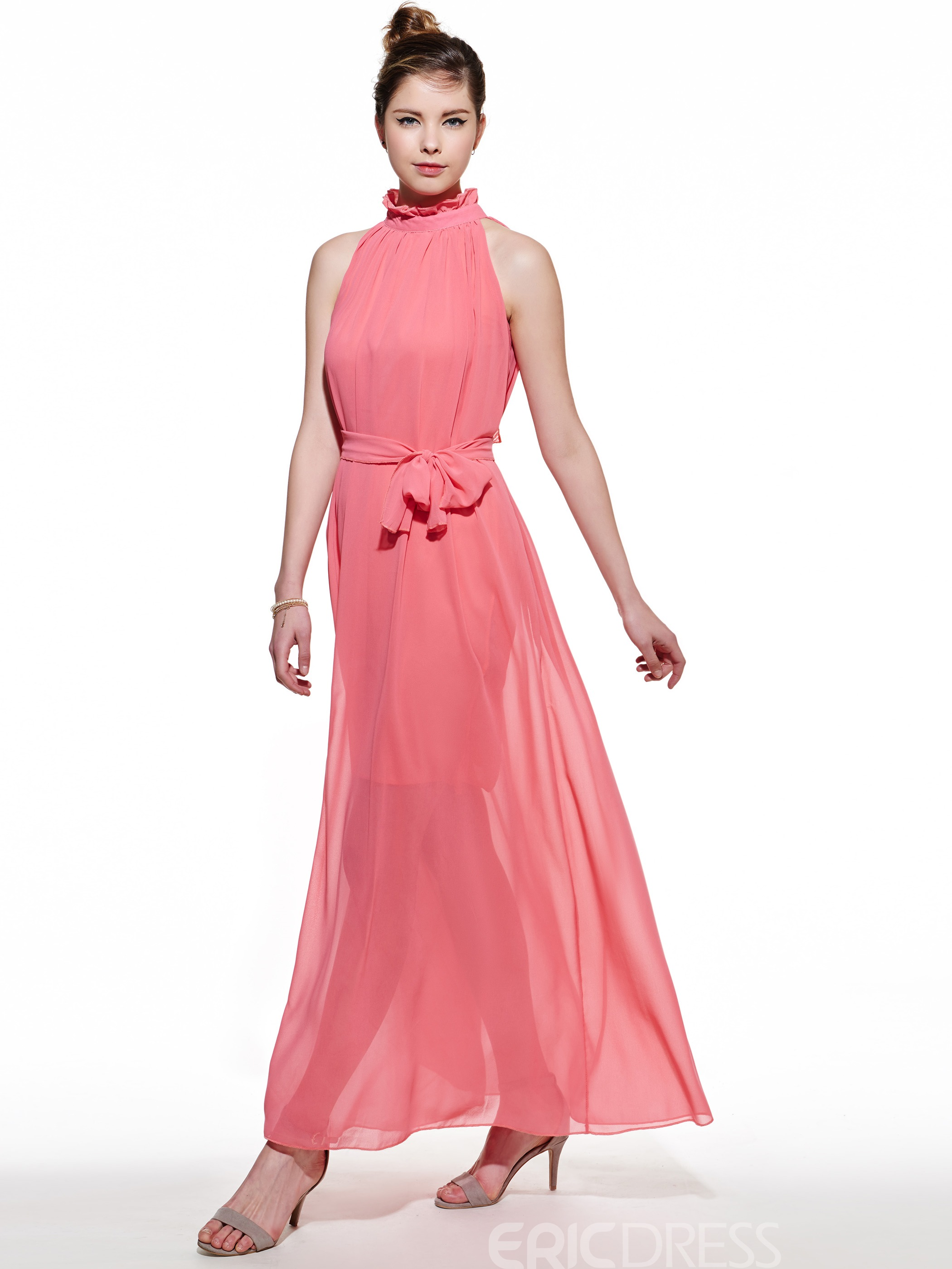 Ericdress Amazing Stand Collar Sleeveless Maxi Dress