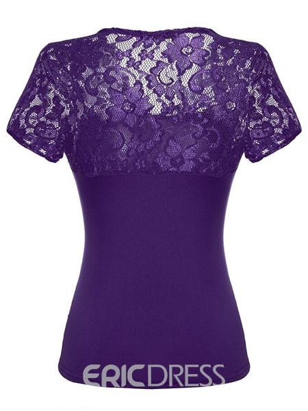 camiseta ericdress slim plain lace