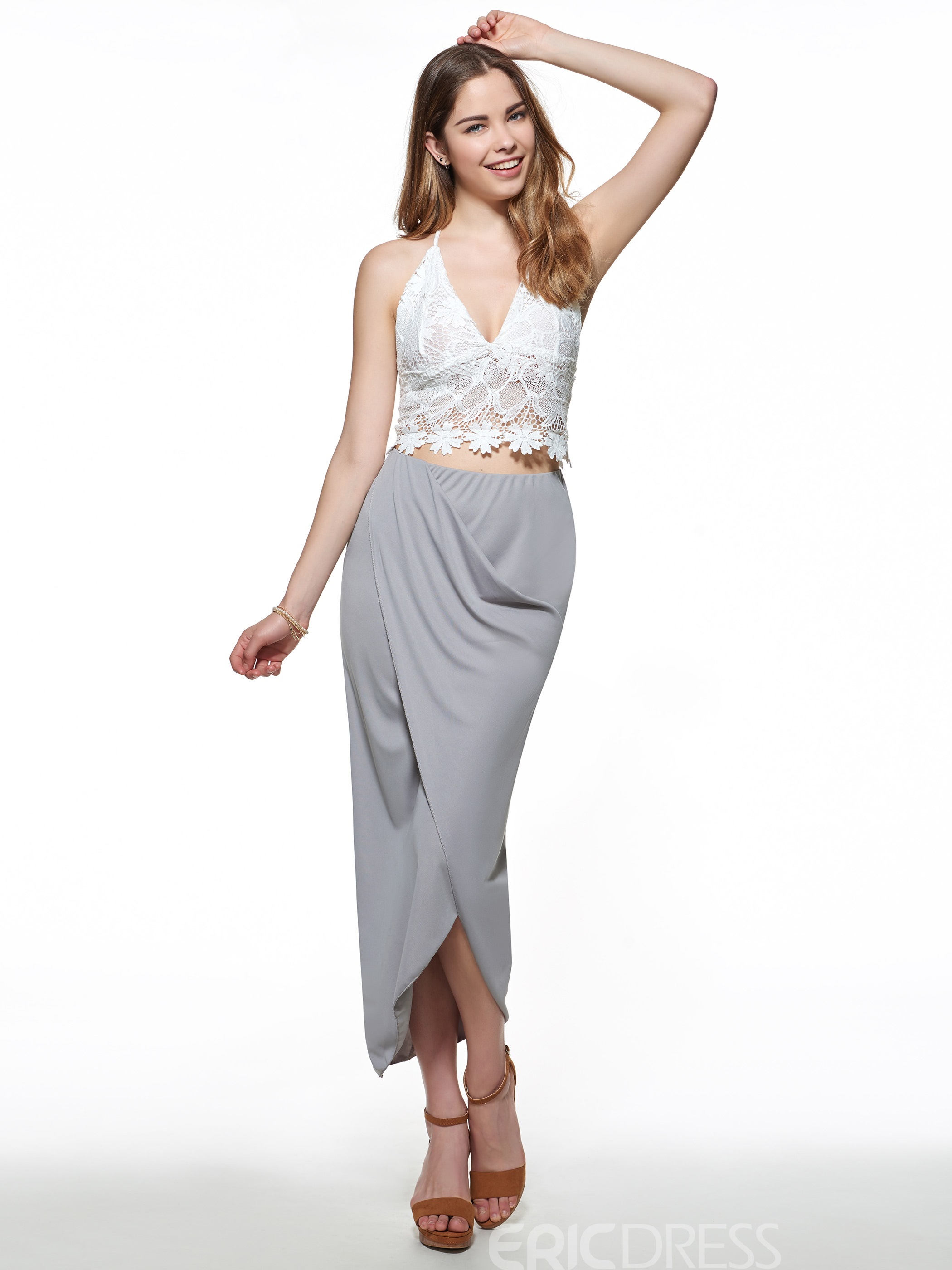 Ericdress Sexy Lace Vest Two Piece Set
