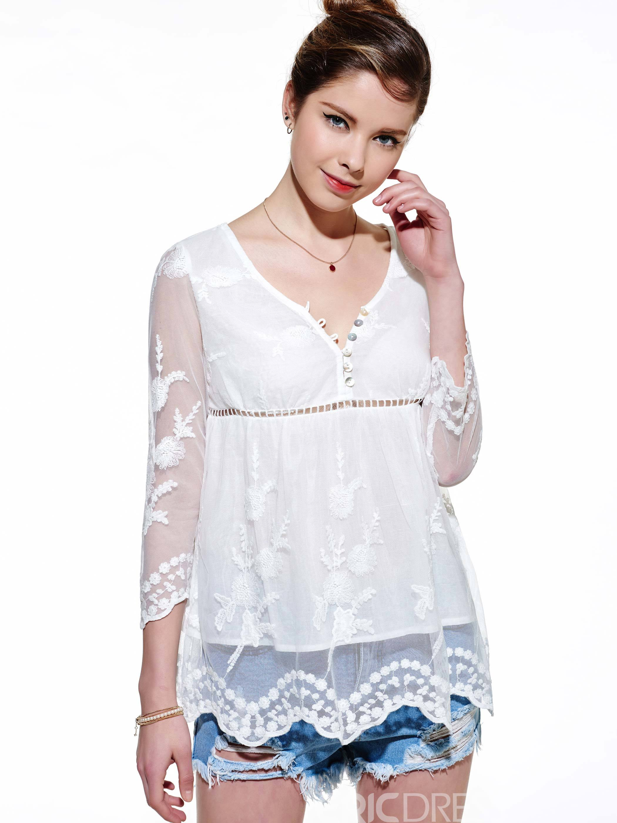 ericdress a-line Mesh-Patchwork-Bluse
