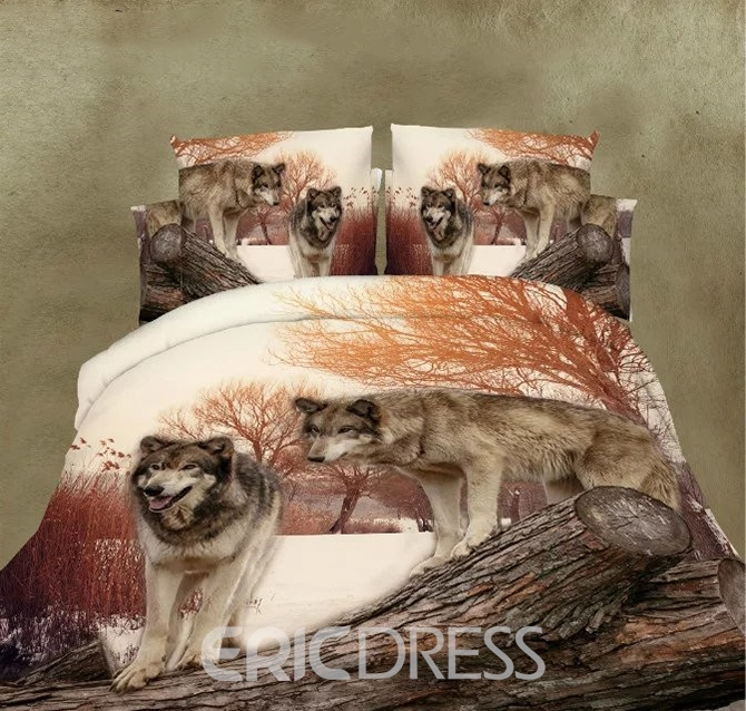 Vivilinen Unique Lifelike Wolf Couple Print 4-Piece Polyester Duvet Cover Sets