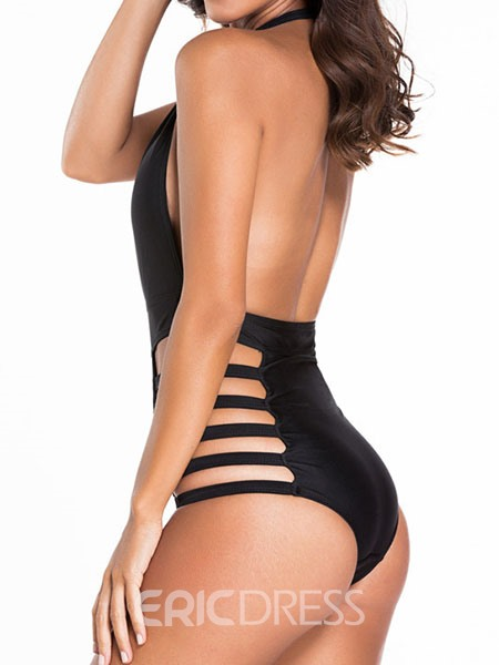 Ericdress Black Deep V-Neck Hollow Halt Monokini