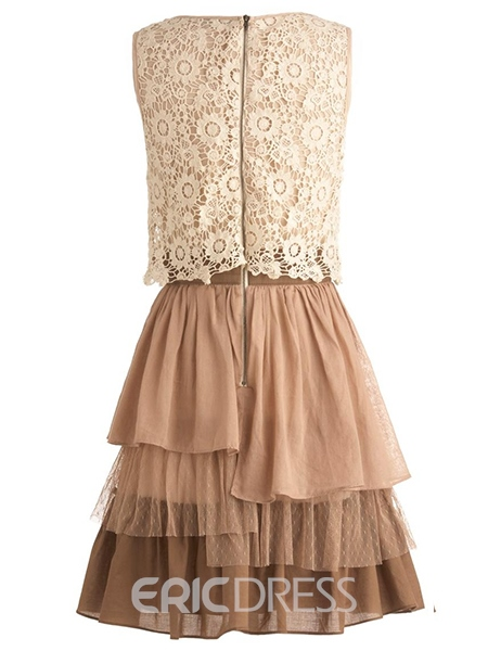 Ericdress Lace Patchwork U-Neck Layered Casual Dress