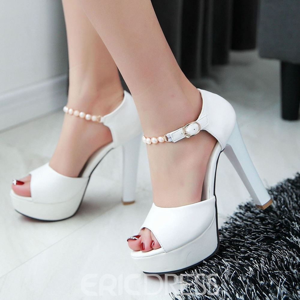 Ericdress Pearl Peep Toe Chunky Sandals