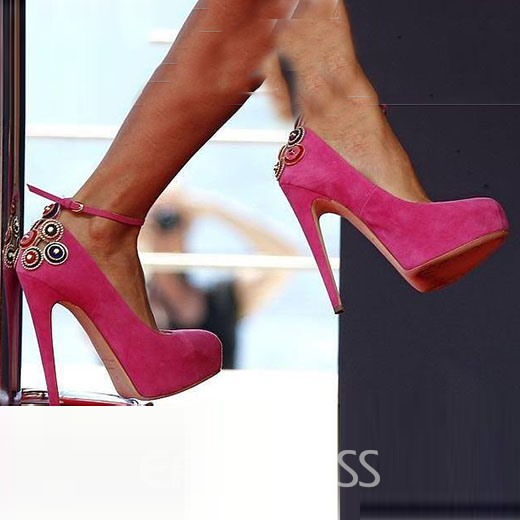 Glaring Rose Stiletto Heel Women Shoes with Ankle Strap