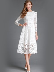 Ericdress Soild Color Three-Quarter Knee-Length Lace Dress thumbnail