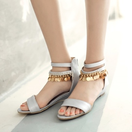 Ericdress Metal Tassels Back Zipper Flat Sandals