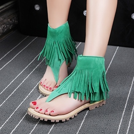 Ericdress Zipper Plain Tassel Square Heel Women's Sandals