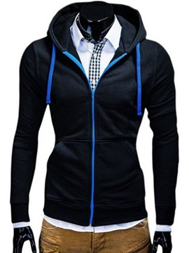 Ericdress Plain Casual Zip Men's Hoodie