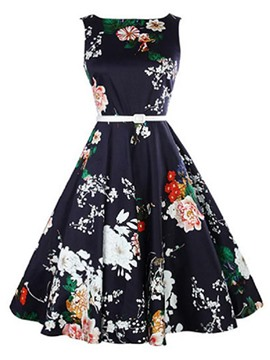 Ericdress Vintage Expansion Print Skater A Line Dress