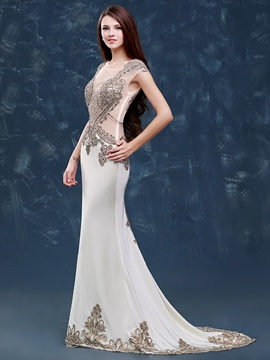 Ericdress Mermaid Scoop Cap Sleeves Appliques Beading Court Train Evening Dress