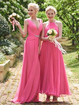Ericdress Halter Pleats Ankle Length Bridesmaid Dress