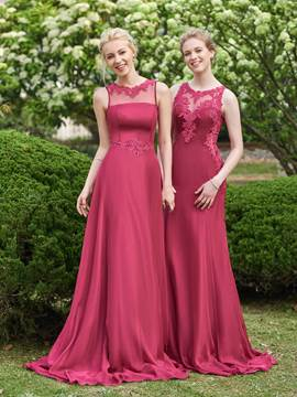 Ericdress Illusion Neckline Appliques Long Bridesmaid Dress