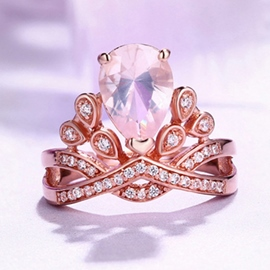 Ericdress Water Drop Crown Ring for Women