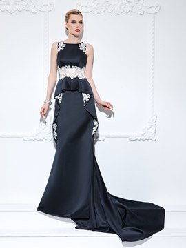 Ericdress Trumpet Straps Appliques Ruffles Court Train Evening Dress