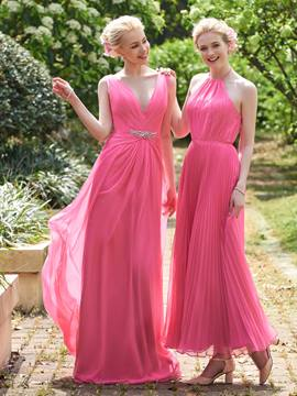 Ericdress Beautiful V Neck Backless Long Bridesmaid Dress