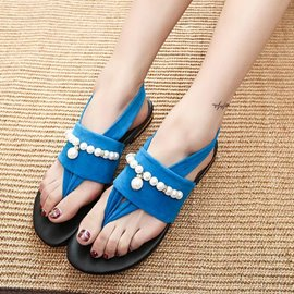 Ericdress Thong Slip-On Slingback Strap Bead Suede Flat Sandals