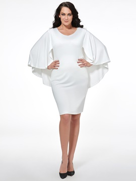 Ericdress plain cape plus size bodycon kleid