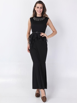 Ericdress Falbala Sleeveless Floor-Length Summer Plain Dress