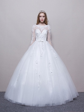 Ericdress High Quality Illusion Neckline Long Sleeves Ball Gown Wedding Dress
