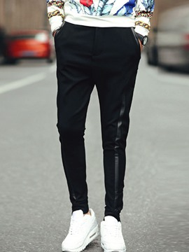 Ericdress Black Unique PU Patchwork Casual Men's Pencil Pants
