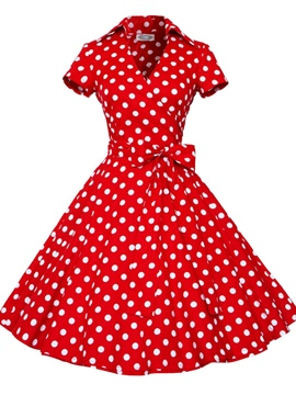 ericdress Revers Polka Dots lace-up Frauen eine Linie Kleid