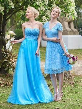 Ericdress Simple Sweetheart Lace Long Bridesmaid Dress