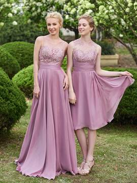 Ericdress Beautiful Jewel Lace Knee Length Bridesmaid Dress