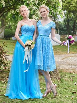 Ericdress Beautiful Short Sleeves Lace Knee Length Bridesmaid Dress