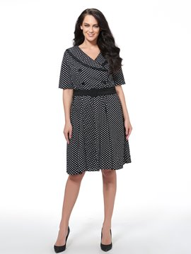 Ericdress Polka Dots Short Sleeve Belt A Line Dress