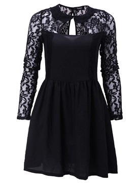 Ericdress Black Sexy Lace Backless Dress