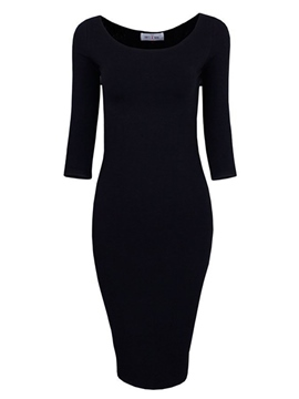 Ericdress Simple del Soild Color Bodycon Vestido