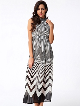 Ericdress Wave Chiffon Maxi Dress